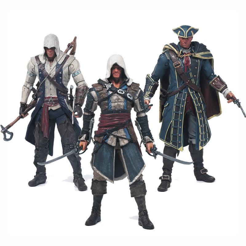 15 CM Ücretsiz Kargo Assassins Creed 4 Black Flag Connor Heysem Kenway Edward Kenway PVC Action Figure Oyuncaklar gizli blade