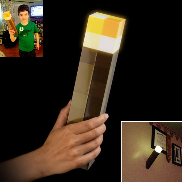 Orijinal Light Up Minecraft Meşale LED Minecraft Lamba El Tutulan veya Duvar Montaj E