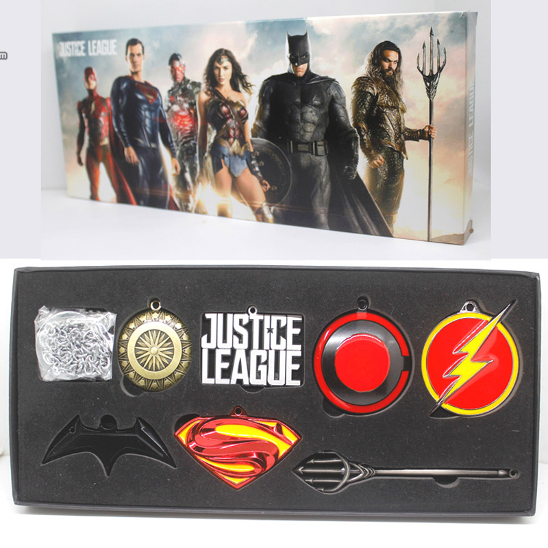DC COMICS Justice League Superman Wonder Woman Batmanflaş Aquaman Metal Modeli Silahlar Kolye 7-pack