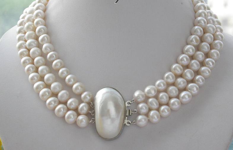 Wedding Woman Jewelry AAA 9-10MM 3 Rows White Pearl Natural Freshwater Pearl Necklace Handmade Free Shipping