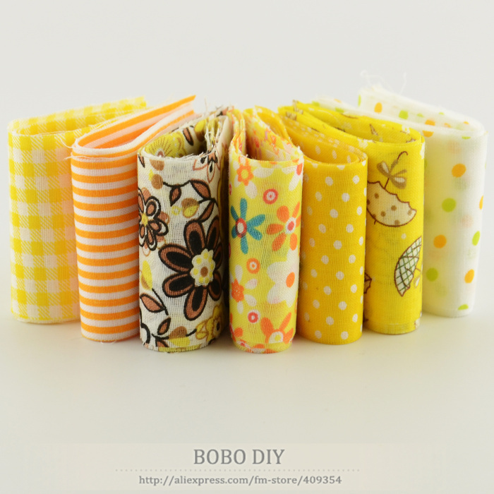 2015 cotton 7pcs/lot jelly roll fabric strips sewing textile yellow sets 5cmx100cm quilting doll&39;s cloths tildas