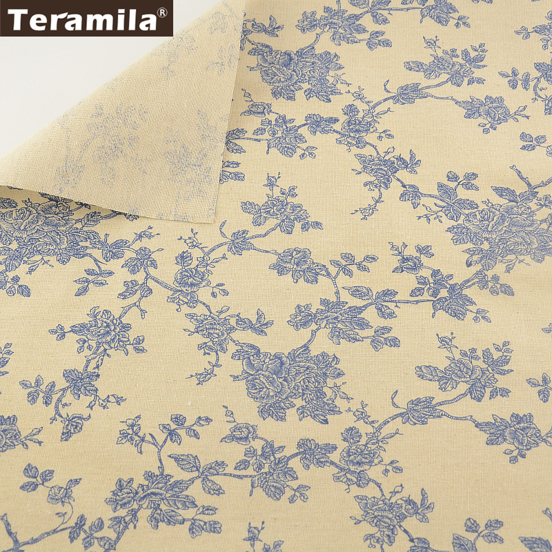 TERAMILA Cotton Linen Fabric Printed Blue Branches Designs Sewing Material Tissue Tablecloth Pillow Bag Curtain Cushion Pillow