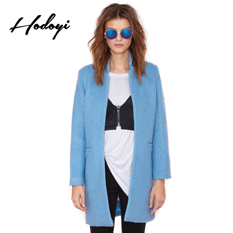 Hodoyi Solid Blue Winter Brief Warm Outwear Women Long Sleeve Stand Collar Longline Wool Coat Slim Wide-Waisted Office Lady Coat