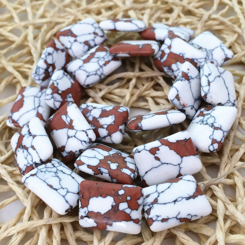 Taiwan white tiger turquoise rectangle stone 13x18mm multicolor jasper loose beads diy jewelry making 15 inch F241GS