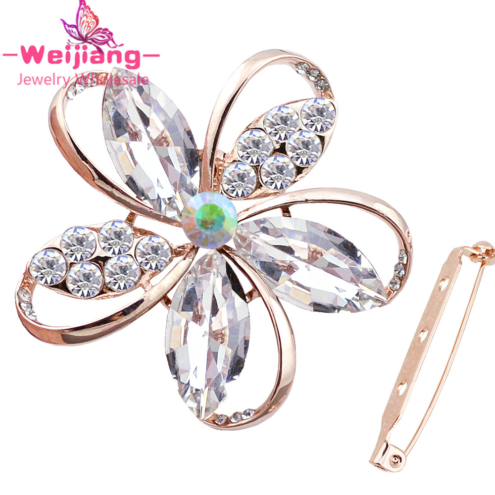 N369 crystal luxury brooches hollow fashion ladies brooches for gift